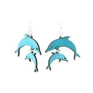 Laser Cut Double Dolphin Earrings