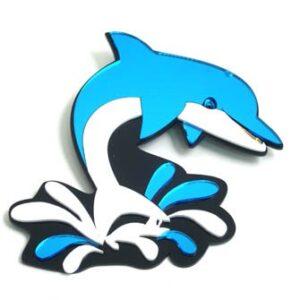 Dolphin Leaping & Splashing Mirrored Wall Decor