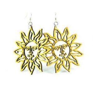 Laser Cut Lemon Yellow Sun Earrings