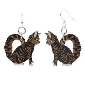 Laser Cut Tabby Cat Wood Earrings