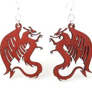 Laser Cut Red Dragon Wooden Earrings