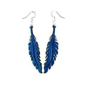 Laser Cut Blue Feather Earrings