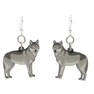Laser Cut Grey Wolf Full Body Wood Earrings