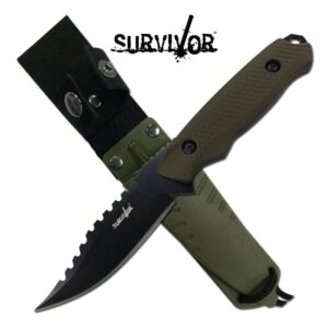 Fixed Blade Green and Black Knife with Sheath