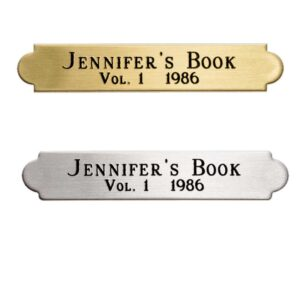 Brass or Silver Toned Decorative Plate for Pictures or Awards (3/8″ by 2″)
