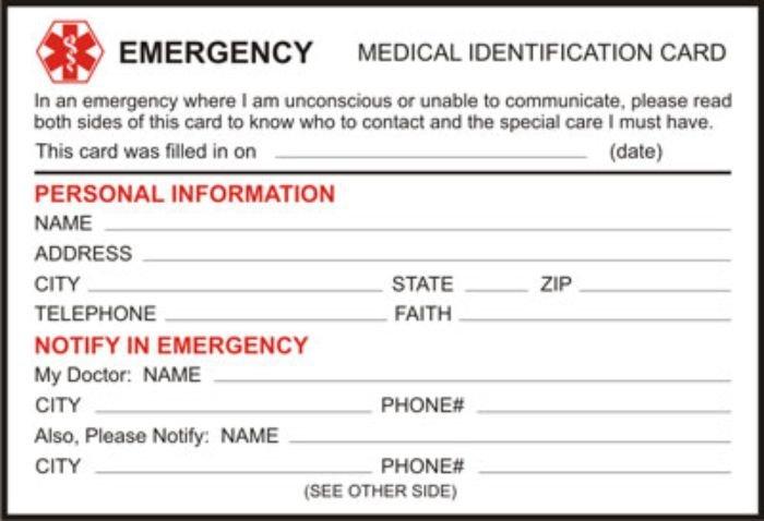 Paper Card For Medic Alert Bracelets